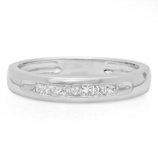 14k White Gold 3/8ct TDW Princess-cut Diamond Stackable Wedding Band (H-I, I1-I2)