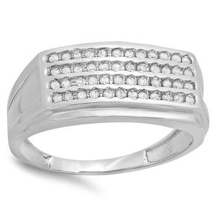 Sterling Silver Men's 1/2ct TDW Round Diamond Hip Hop Wedding Band (I-J, I2-I3)