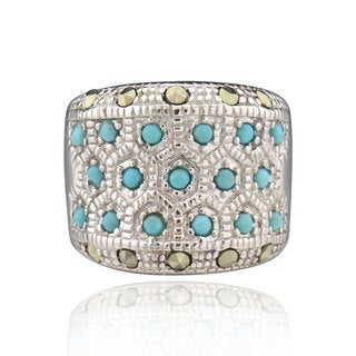 Sterling Silver Round-cut Turquoise/ Marcasite Ring (China)