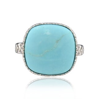 Sterling Silver Square Blue Turquoise Ring (China)