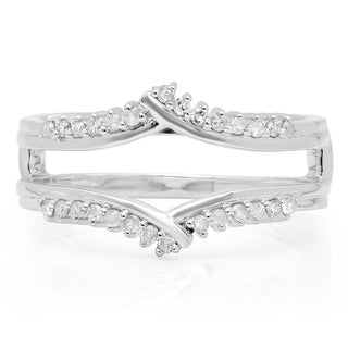 14k White Gold 1/4ct TDW Round Diamond Double Ring Wedding Band Guard (H-I, I1-I2)