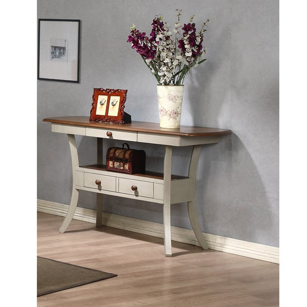 Balmoral Shabby Chic Country Cottage Antique Oak Wood and Distressed Light Grey Fixed Top Server