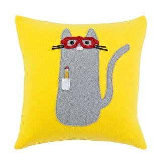 Fleece Yellow Smart Kitty 17-inch Accent Pillow