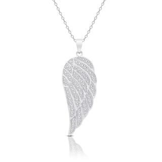 Finesque Sterling Silver or Gold Over Silver Diamond Accent Angel Wing Design Necklace