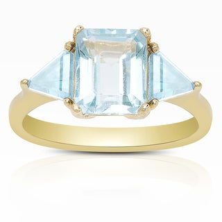 Dolce Giavonna Gold Over Sterling Silver Garnet or Blue Topaz Solitaire Ring