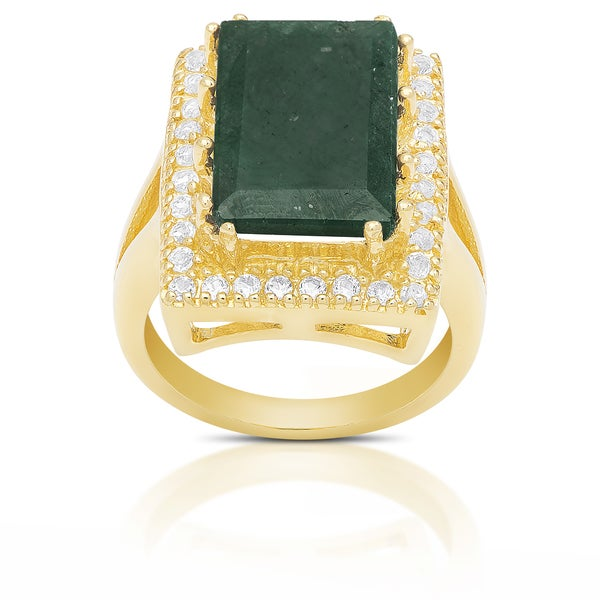 Dolce Giavonna Sterling Silver Emerald-Cut Gemstone Ring