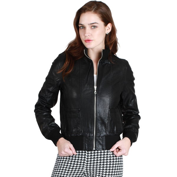 Nikibiki Women's Faux Leather Jacket with Rib Borders