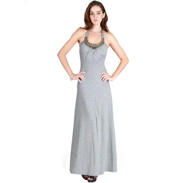 Nikibiki Women's Jeweled Neckline Maxi Dress