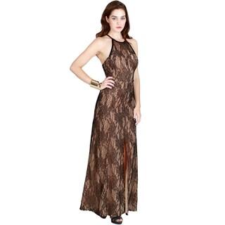 Nikibiki Women's Side Slit Halter Neck Maxi Dress