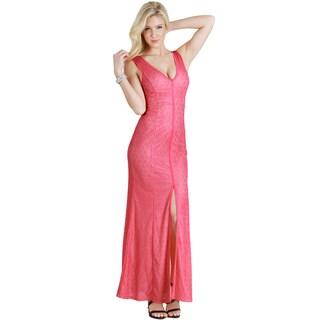 Nikibiki Women's Front Slit Deep V Maxi Dress