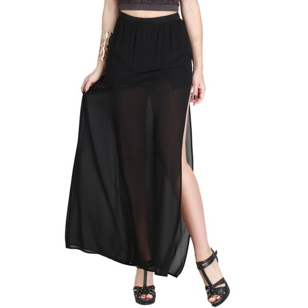 Nikibiki Women's Sheer Side Slit Maxi Skirt
