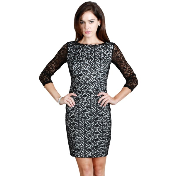 Nikibiki Women's Floral Lace 3/4 Sleeve Dress