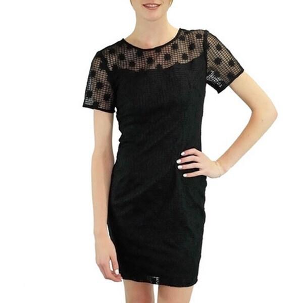 Women's Black Daisies Windowpane Dress