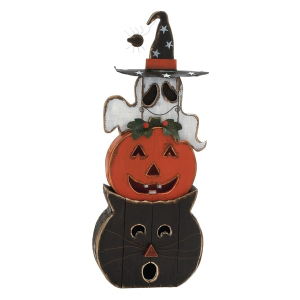Standing Cat Pumpkin Ghost Figurine