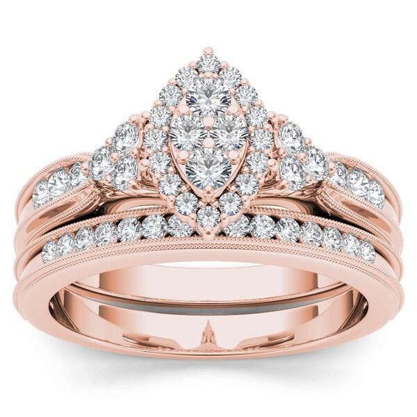De Couer 10k Rose Gold 1/2ct TDW Diamond Marquise-Framed Halo Engagement Ring Set - White 15795376