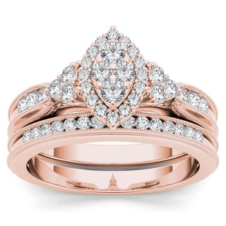 De Couer 10k Rose Gold 1/2ct TDW Diamond Marquise-Framed Halo Engagement Ring Set (H-I, I2)