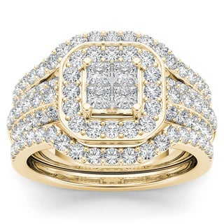 De Couer 10k Yellow Gold 1 3/4ct TDW Diamond Halo Engagement Ring Set (H-I, I2)
