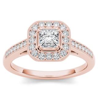 De Couer 14k Rose Gold 1/2ct TDW Diamond Vintage Halo Engagement Ring (H-I, I2)