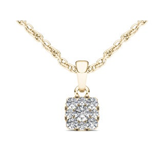 De Couer 10k Yellow Gold 1/4ct TDW Diamond Cluster Solitaire Necklace (H-I, I2)