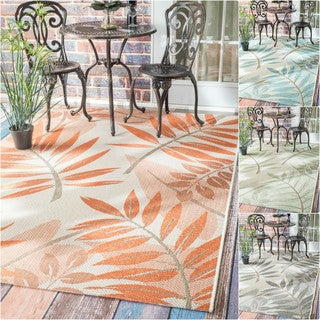 nuLOOM Modern Floral Outdoor/ Indoor Porch Rug (8'6 x 12'2)