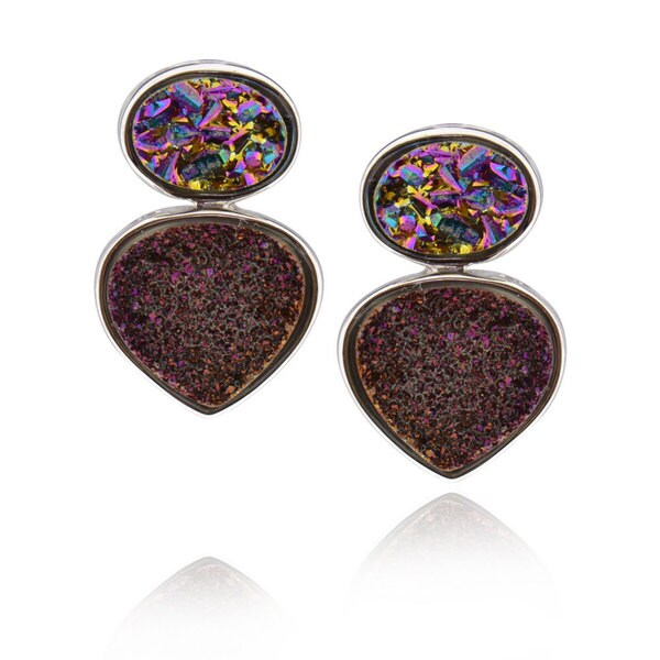 Sterling Silver druzy Drop Earrings 15795684