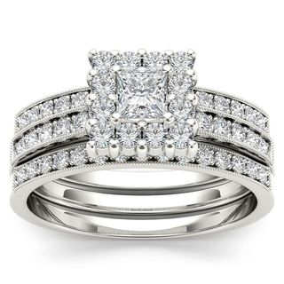 De Couer 14k White Gold 7/8ct TDW Diamond Halo Engagement Ring Set with One Band (H-I, I2)