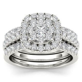 De Couer 14k White Gold 1 1/2ct TDW Diamond Halo Engagement Ring Set with Two Bands (H-I, I2)