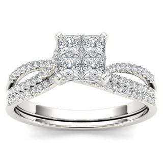 De Couer 14k White Gold 3/4ct TDW Diamond Halo Engagement Ring Set with One Band (H-I, I2)