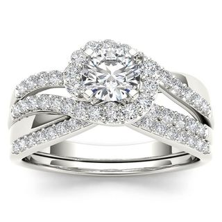 De Couer 14k White Gold 1ct TDW Diamond Bypass Halo Engagement Ring Set with One Band (H-I, I2)