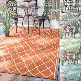 nuLOOM Modern Trellis Outdoor/ Indoor Porch Rug (8'6 x 12'2)