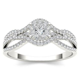De Couer 10k White Gold 1/2ct TDW Diamond Halo Engagement Ring (H-I, I2)