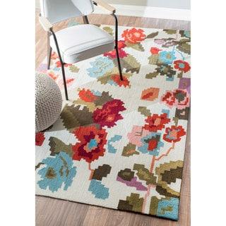 nuLOOM Handmade Modern Floral Fancy Multi Rug (5' x 8')