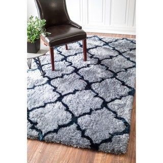 nuLOOM Handmade Soft and Plush Trellis Grey Shag Rug (7'6 x 9'6)