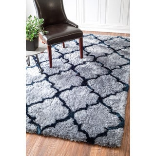 nuLOOM Handmade Soft and Plush Trellis Grey Shag Rug (5' x 8')