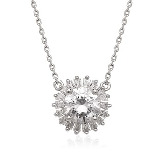 La Preciosa Sterling Silver Cubic Zirconia Halo Circle Necklace