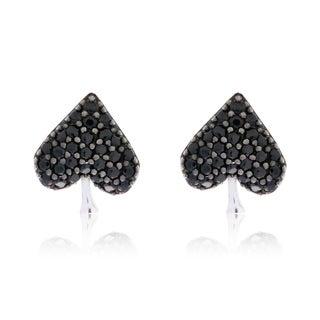 Blue Box JewelsRhodium-plated Sterling Silver Black Cubic Zirconia Spade Earrings