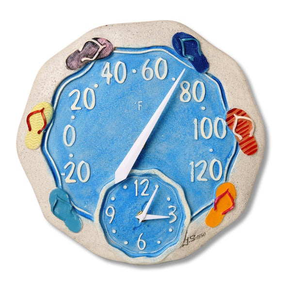 12-inch Polystone Beach Sandals Thermometer and Wall Clock