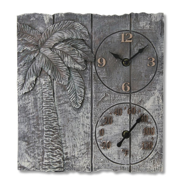 14-inch Polystone Palm Tree Clock and Thermometer