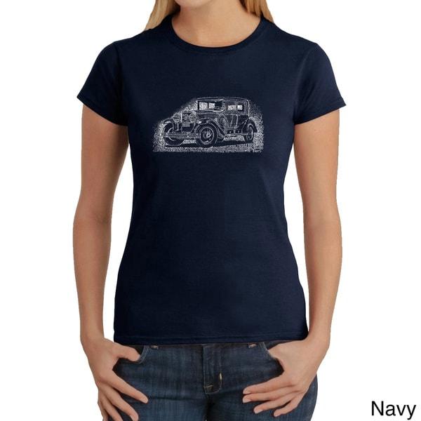 LA Pop Art Women's Mob Car Cotton T-shirt