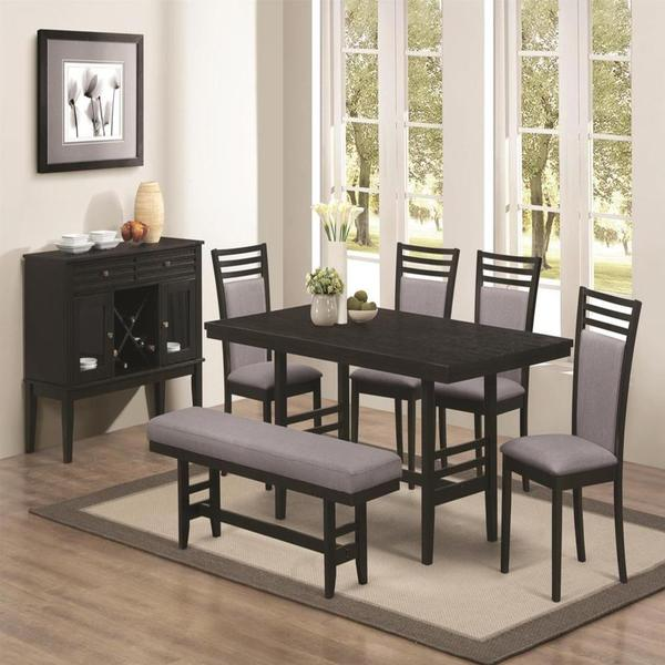 Palo Alto Black 7-piece Dining Set