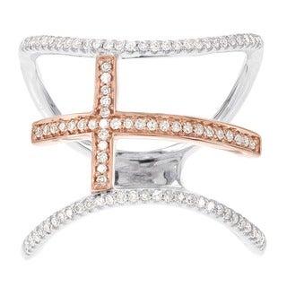 H Star 14k White and Rose Gold 1/4ct TDW Diamond Cross Fashion Ring (H-I, I1-I2)
