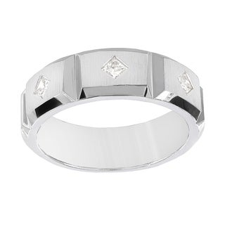 H Star 10k White Gold Men's 1/3ct TDW Princess-cut Diamond Band (I-J, I2-I3)