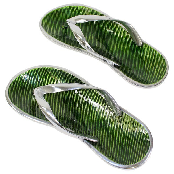 Green Coastal Flip Flop Cracker Trays (Set of 2)