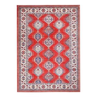 Herat Oriental Afghan Hand-knotted Tribal Vegetable Dye Super Kazak Red/ Ivory Wool Rug (10'4 x 14')