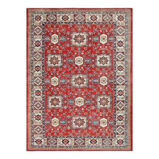 Herat Oriental Afghan Hand-knotted Tribal Vegetable Dye Super Kazak Red/ Ivory Wool Rug (10' x 13'7)
