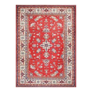 Herat Oriental Afghan Hand-knotted Tribal Vegetable Dye Super Kazak Red/ Ivory Wool Rug (10'1 x 14'1)