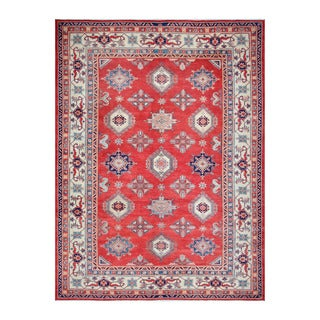 Herat Oriental Afghan Hand-knotted Tribal Vegetable Dye Super Kazak Red/ Ivory Wool Rug (10'3 x 13'10)