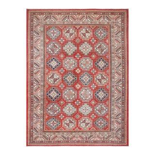 Herat Oriental Afghan Hand-knotted Tribal Vegetable Dye Super Kazak Red/ Ivory Wool Rug (9' x 12'4)