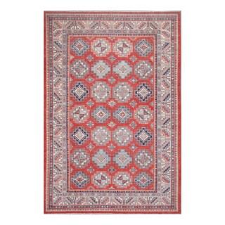 Herat Oriental Afghan Hand-knotted Tribal Vegetable Dye Super Kazak Red/ Ivory Wool Rug (8'7 x 12'11)