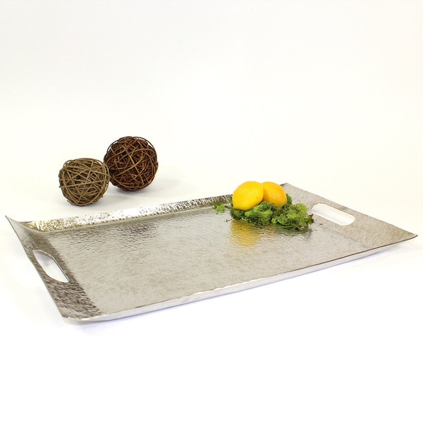 19-inch Rectangular Silver Tray with Handles